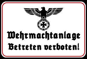 Blechschild, 20 x 30 cm, Wehrmachtanlage, Militär, Betreten verboten, Neu, OVP