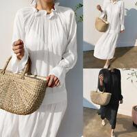 Women Summer Long Maxi Sundress Ruffle Neck Tiered Beach Party Plus Size Dress