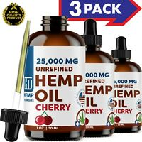 Cherry Hemp Oil Extract For Pain Relief Anxiety, Sleep 3 Pack 25 000 mg