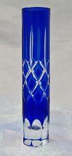 Cobalt Blue Hand Cut Cylinder Bud Vase