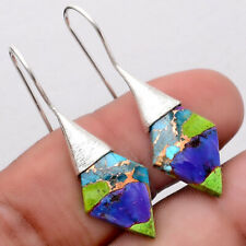 Multi Copper Turquoise 925 Silver Matte Finish Earrings Jewelry 7096