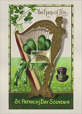 REPRINT PICTURE old postcard ST PATRICK'S DAY the harp of erin 5x7