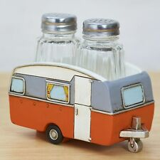 Country Camper Salt and Pepper Shakers with Caravan Holder Tray - Orange