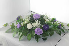 WEDDING FLOWERS TOP TABLE CENTREPIECE CADBURY'S PURPLE LILAC & IVORY