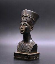 Rare Egypt Egyptian Nefertiti Antiques Statue Queen Head Carved Black Stone Bc