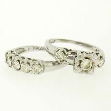 VINTAGE 14k ORO BLANCO .91ctw Diamante Brillante Alianza Anillo De Compromiso