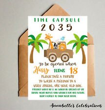 Jungle 1st Birthday Time Capsule - Decorations Print Invite Party First Lion