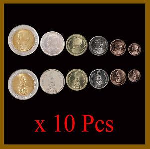 Thailand 25 50 Satang 1 2 5 10 Baht (6 Pcs Coin Set) x 10 Lots, 2018 K. Rama Unc