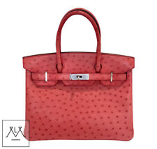 Hermes Birkin Bag 30cm Bougainvillea Red Ostrich Skin PHW - 100% Authentic