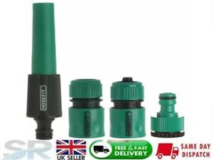 4pc Hose Pipe Water Spray Nozzle Gun Tap Hosepipe Attachment Garden