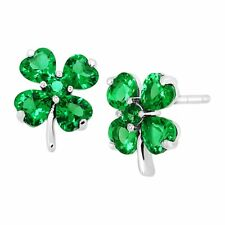 Shamrock Clover Stud Earrings With Green Cubic Zirconia in Sterling Silver