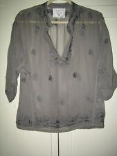 Grey Silk Hand Embroidered 3/4 Dolman Sleeve Top Lg.