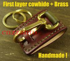 First layer cowhide Leather + brass easy release Key ring Belt loop clip H447A