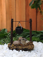 Miniature FAIRY GARDEN Accessories ~ Micro Mini Wood Stone Campfire w/ Pot ~ NEW
