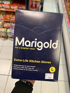 Marigold Extra Life Kitchen Gloves Large Full Box 6 Pairs Triple Layer CHEAP