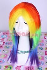 My Little Pony Rainbow Dash Multi Color Synthetic Cosplay PARTY Wig Tail Set