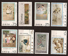 COREA Lot de 8 sellos matasellado Cuadros país, escenas diversas 82M 153T6