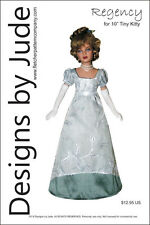 """Regency Dress Doll Clothes Sewing Pattern for 10"""" Tiny Kitty Tonner"""