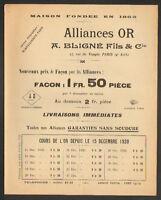 """PARIS (IV°) FABRIQUE d'ALLIANCES en OR ,BIJOUTIER """"A. BLIGNE Fils & Cie"""" en 1920"""