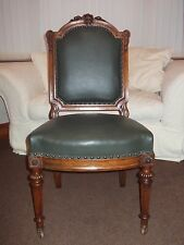 OIGINAL LOUIS XVI D/OLIVE LEATHER PARLOR SIDE CHAIR