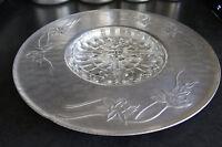 Large Aluminum Tray with Insert, Everlast Platter, Vintage Plate, Raised Flowers