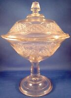 Pressed Glass Covered Compote Pedestal Dish (11 Inches Tall)