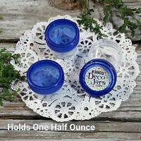 100 New Clear Plastic Jars Makeup Container Blue Caps 1/2oz DecoJars #3803