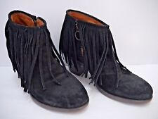 FIORENTINI + BAKER black suede fringe booties ankle boots size 36