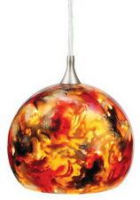 Satin Nickel And Ember Melange Art Glass Mini Pendant