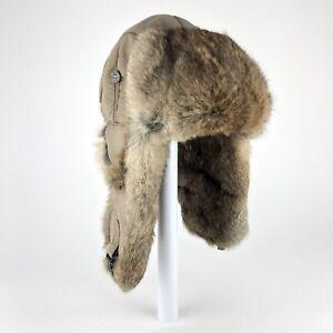 MAD BOMBER Rabbit Fur Trimmed TRAPPER HAT Tan Khaki Size L Insulated