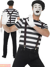 Adults Mime Artist Costume Mens French Fancy Dress Street Circus Outfit Make Up