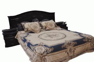 DaDa Bedding Blue Victorian Chenille Tapestry Floral Medallion Bedspread Set