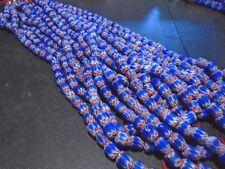 "14 - 8mm Red, White & Blue Ceramic Chevron Beads - 12"""