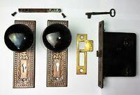 Antique Victorian EASTLAKE Backplate Black Porcelain Door Knob Mortise Lock Key