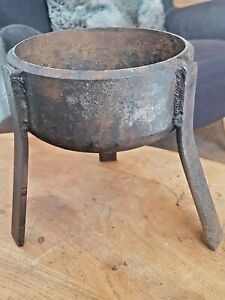Antique Blacksmith Cast Iron Three Legged Melting Pot