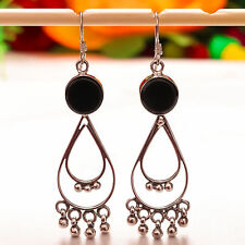 """92.5 Sterling Silver Natural Black Onyx Round Smooth Cab Earrings 2.45"""" Sb-104"""