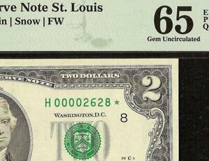 2003 $2 TWO DOLLAR LOW PRINT STAR NOTE PAPER MONEY ONLY 16,000 ISSUED PMG 65 EPQ