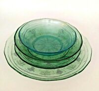 Depression Style Arcoroc Minos Jade & Minos Sapphire Patterns 4 in Lot  6 Avail