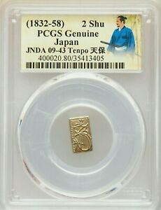 PCGS Japan 1832 - 58 Tenpo Era 2 Shu Gold Genuine Samurai Coin Rare Label