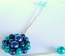 Blue Faux Pearls Beaded Chain & Pendant