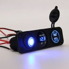 12V Voltmeter Blue LED Dual USB 3.1A Car Charger Rocker Switch Cigarette Lighter