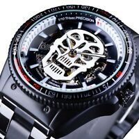Black Skeleton Men Automatic Mechanical Watch Steampunk Skull, Stainless Steel