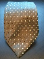 Giorgio Armani Grey Geometric Patterned Silk Tie Made in Italy