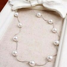 Pearl Choker Statement Bib Necklace Tassel Clavicle Chain Women Simple Jewelry