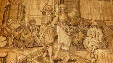 Rare Mid 19Thc Tapestry Ottoman Warriors Saber Dance Musicians Narghile Smokers