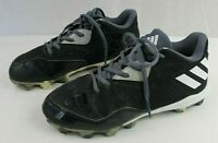 ADIDAS Boys Athletic Black/Gray/White Leather Upper Baseball Cleats Size 4.5 Med