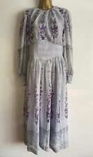 Vintage Retro 1970's Blue Purple Silver Floral Printed Chiffon Maxi Dress SZ 12