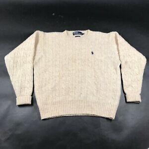 Vintage Polo Ralph Lauren Pullover Sweater Mens S Cable Knit Shetland Wool Tan