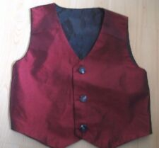 Boys 4T Dark Red Dupioni Silk Taffeta LINED VEST Suit PARTY 3 Button DRESS