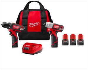 New Milwaukee M12 2407-20 Drill 2462-20 Impact Driver Cordless Power Tool Set